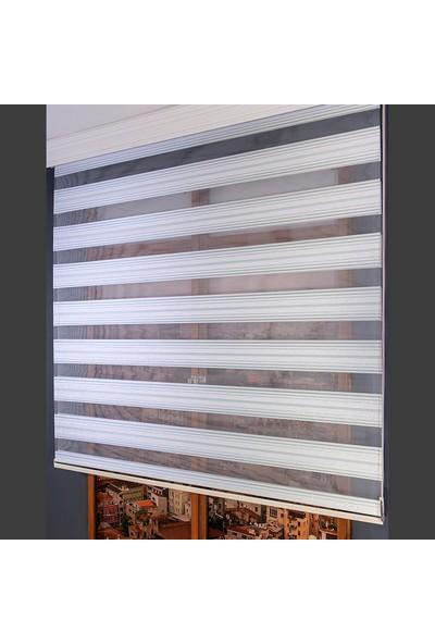 Anıper Zebra Perde Turkuaz Gümüş Simli Pliseli 70 x 200 cm