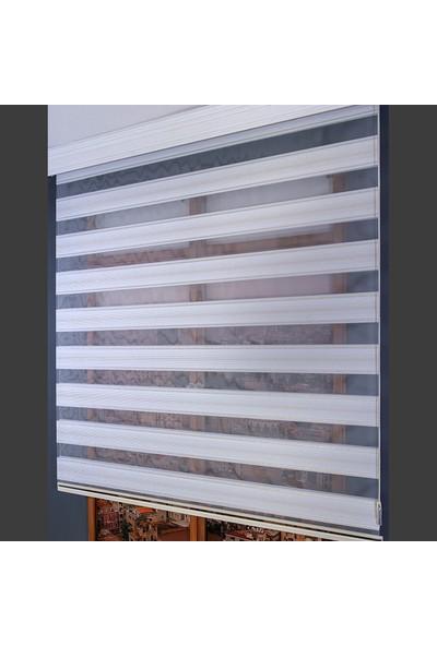 Anıper Zebra Perde Beyaz Gold Simli Pliseli 70 x 200 cm