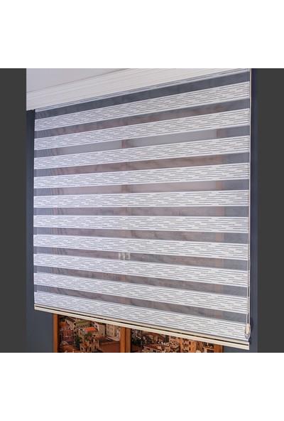 Anıper Zebra Perde Füme Gümüş Simli Mini Plise 70 x 200 cm
