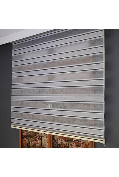 Anıper Zebra Perde Geniş Şerit Plise Antrasit Gri & Beyaz 70 x 200 cm