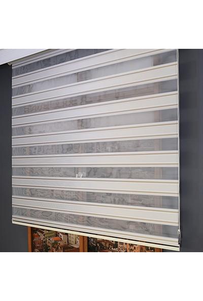 Anıper Zebra Perde Geniş Şerit Plise Sütlü Kahve & Beyaz 70 x 200 cm