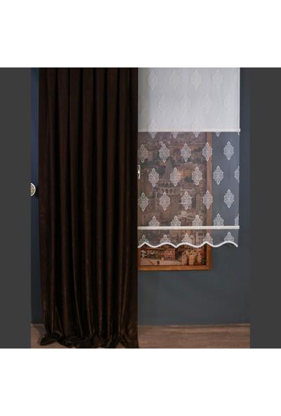 Anıper Kahverengi Kullanıma Hazır Fon Perde 1 Takım 2 Adet 1'e 2 Pile Sıklığı 70 x 250 cm