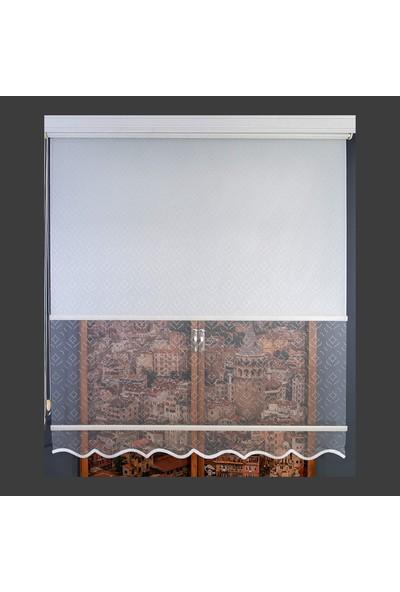 Anıper Çift Mekanizmalı Kırık Beyaz Burgu Desenli Tül Stor Perde 70 x 200 cm