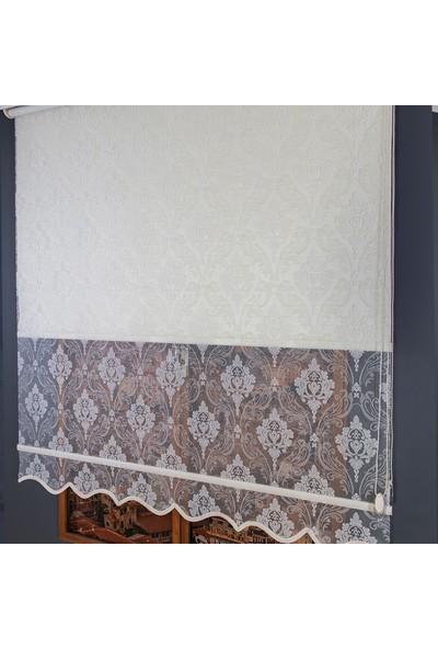 Anıper Çift Mekanizmalı Kırık Beyaz Özlem Desenli Tül Stor Perde 70 x 200 cm