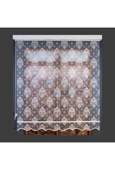 Anıper Çift Mekanizmalı Kırık Beyaz Rose Desenli Tül Stor Perde 70 x 200 cm