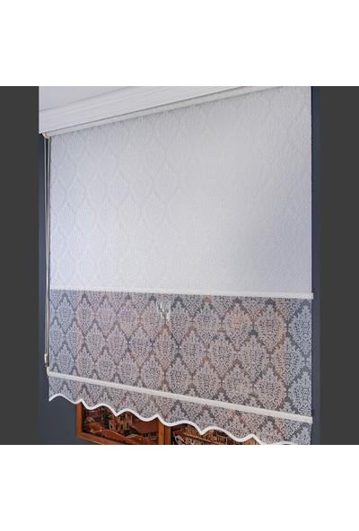 Anıper Çift Mekanizmalı Kırık Beyaz Ottoman Desenli Tül Stor Perde 70 x 200 cm
