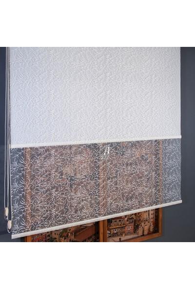 Anıper Çift Mekanizmalı Kırık Beyaz Sonbahar Desenli Tül Stor Perde 70 x 200 cm