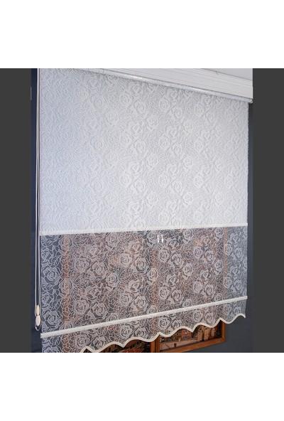 Anıper Çift Mekanizmalı Kırık Beyaz Karma Gül Desenli Tül Stor Perde 70 x 200 cm