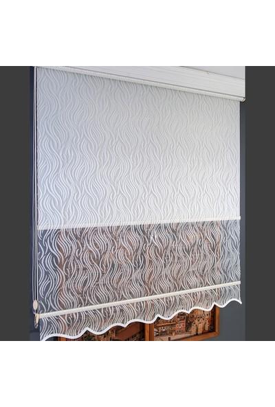 Anıper Çift Mekanizmalı Kırık Beyaz Su Yolu Desenli Tül Stor Perde 70 x 200 cm