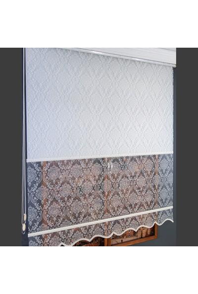 Anıper Çift Mekanizmalı Kırık Beyaz Yakma Damask Desenli Tül Stor Perde 70 x 200 cm