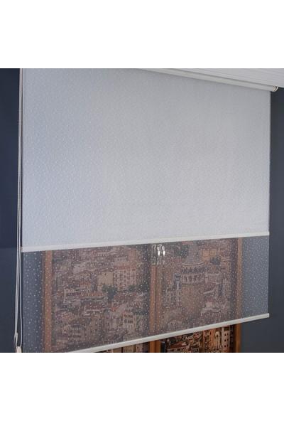 Anıper Çift Mekanizmalı Kırık Beyaz Damla Desenli Tül Stor Perde 70 x 200 cm