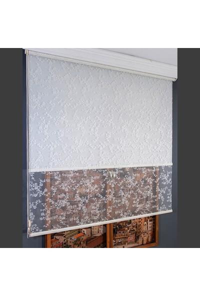 Anıper Çift Mekanizmalı Kırık Beyaz Çıtır Çiçek Desenli Tül Stor Perde 70 x 200 cm