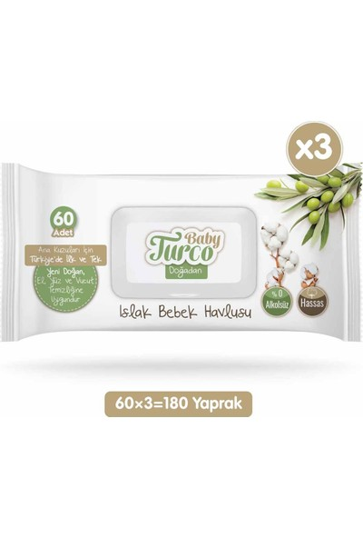 Baby Turco Doğadan Islak Bebek Havlusu 60 Yaprak x 3'lü