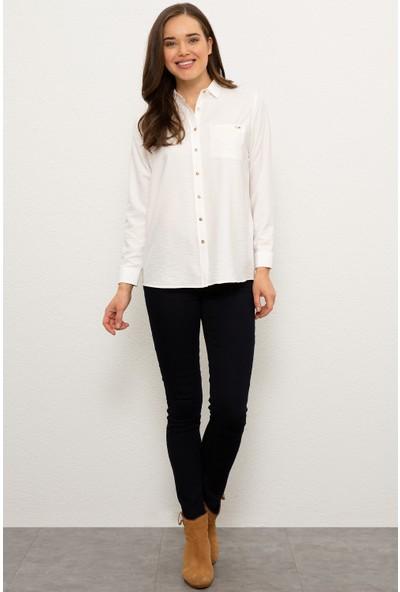 U.S. Polo Assn. Kadın Beyaz Gömlek Uzunkol 50225774-VR019