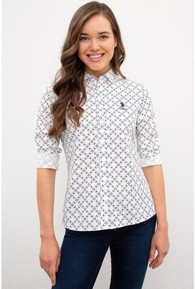 U.S. Polo Assn. Kadın Beyaz Gömlek Uzunkol 50226426-VR019