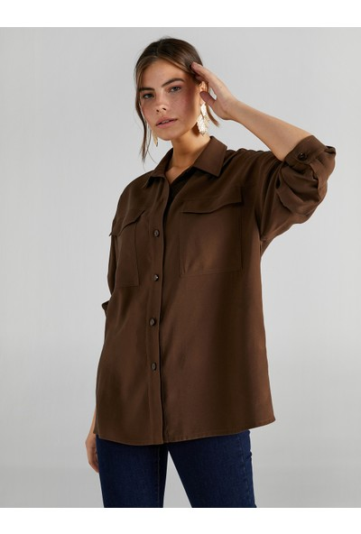 Faik Sönmez Kadın Cepli Overshirt Tunik 61212
