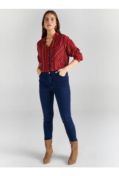 Faik Sönmez Kadın Çizgili Uzun Kollu Gömlek 61316