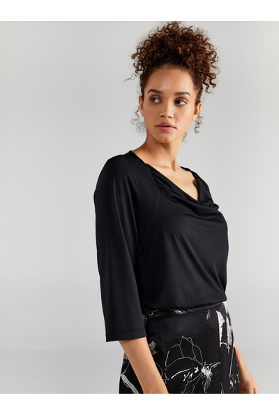 Faik Sönmez Kadın Degaje Yaka 3/4 Kol T-Shirt 61642