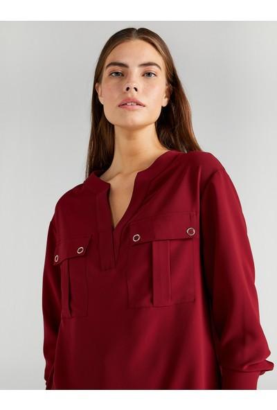Faik Sönmez Kadın Kaçık Yaka Cep Detaylı Bluz 61135