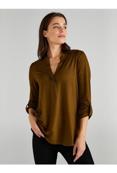 Faik Sönmez Kadın Kaçık Yaka Uzun Kollu T-Shirt 61023