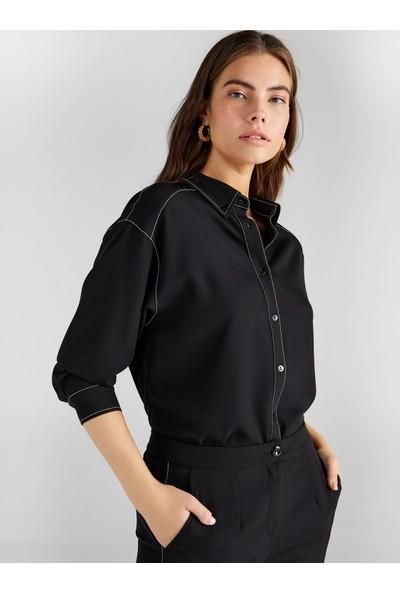 Faik Sönmez Kadın Kontrast Dikişli Gömlek 61306