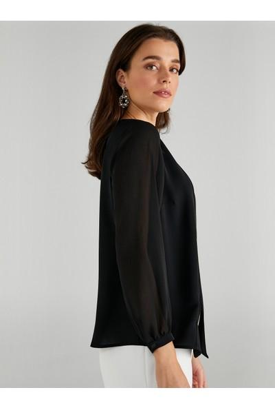 Faik Sönmez Kadın Kruvaze Görünümlü Bluz 61164