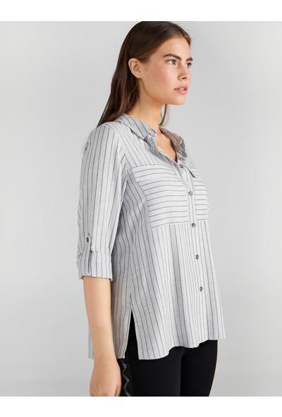 Faik Sönmez Kadın Simli Çizgili Gömlek 61325