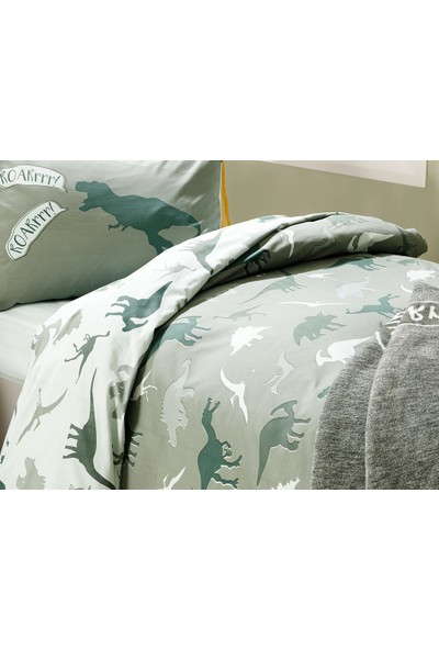 English Home Dinosaurs Pamuklu Çocuk Nevresim Takımı 160x220 cm Yeşil