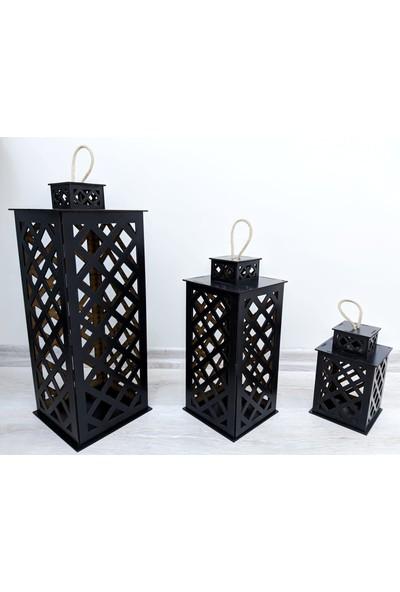Moğol Lazer Ahşap Fener Seti Siyah