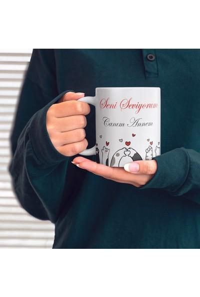 Kitapeli Kupa Bardak Anneler Günü Seni Seviyorum Anne Kedi Patisi Kalp Kişiye Özel