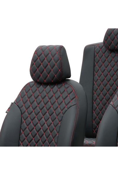 Otom Fiat Linea 2007-2017 Özel Üretim Koltuk Kılıfı Madrid Design Deri Siyah - Kırmızı