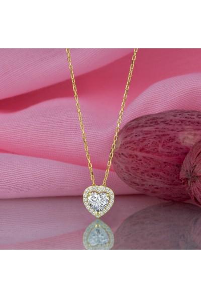 Swarovski Gümüş Kalp Altın Kaplama Kolye