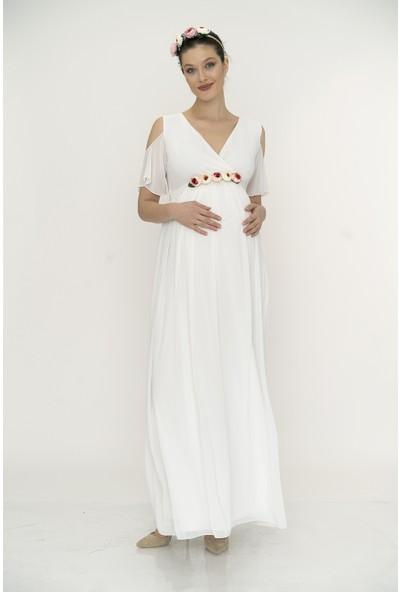 Entarim Hamile Baby Shower Elbise Abiye 2919