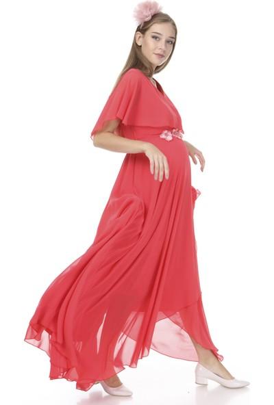 Entarim Hamile Baby Shower Abiye Şifon Elbise 6073
