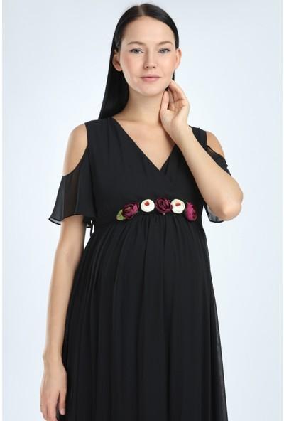 Entarim Hamile Baby Shower Şifon Abiye Elbise 2919