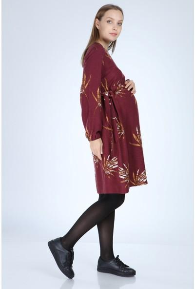 Entarim Hamile Elbise Empirme Desenli 5075