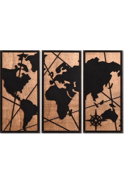 Madamvila 3 Parça Dünya Haritası Dekoratif Ahşap Duvar Tablosu