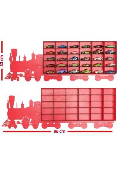 MinİQ Toys Ahşap Tren Oyuncak Araba Rafı - Kırmızı