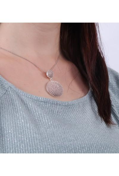 Magnamina Yuvarlak Model Telkari El Işi Rose Gümüş Kolye