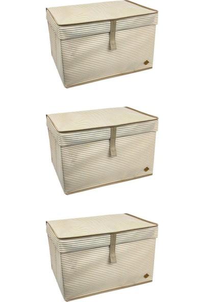 ALAS 3'lü Çok Amaçlı Kutu Maxi Kahverengi Çizgili 50X40X30 cm