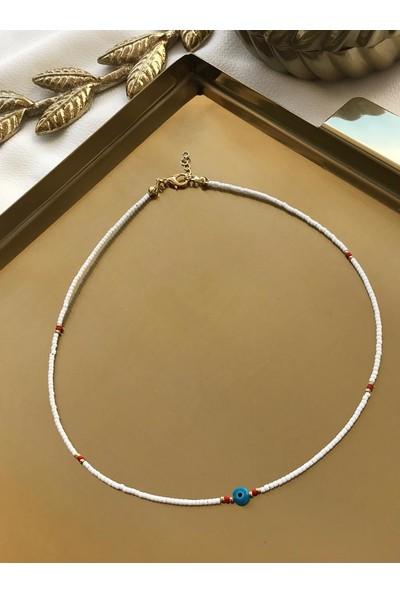 Azra'nın Takı Dükkanı Mavi Nazar Boncuklu Beyaz Boncuk Kolye