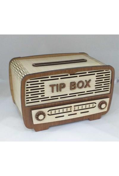 Ayt Reklam Atölyesi Ahşap Kumbara Nostalji Radyo Tip Box Bahşiş Kutusu