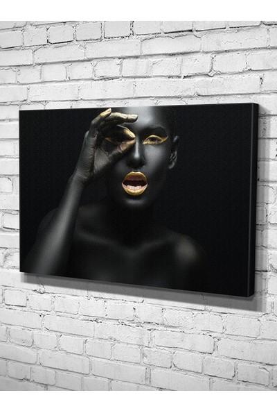 Ekon Gema Darkness Afrikalı Kadın Baskılı Kanvas Tablo