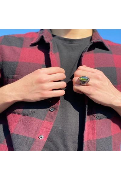 Takılingo Kesim Zebercet Olivin Yeşil Taşlı Gümüş Erkek Yüzük