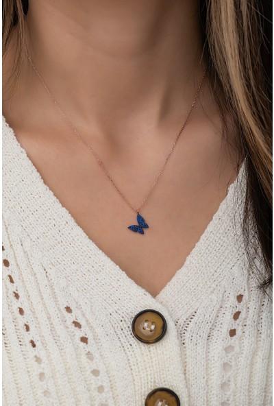 Nereze 925 Ayar Minik Mavi Kelebek Kadın Gümüş Kolye