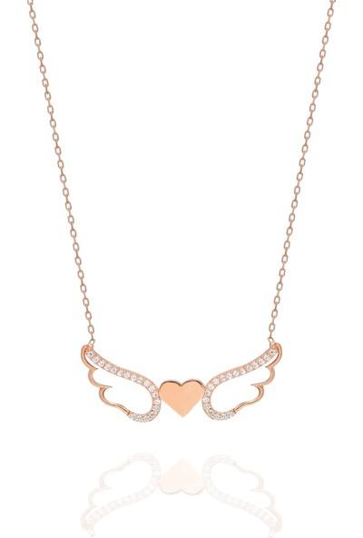 Nereze 925 Ayar Rose Kanatlı Kalp Kadın Gümüş Kolye
