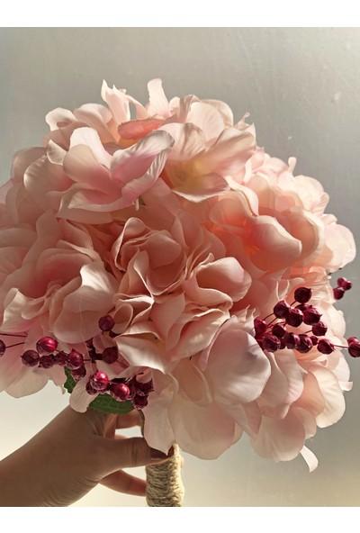 Ddevents Gelin Çiçeği Buketi - Pembe Ortanca