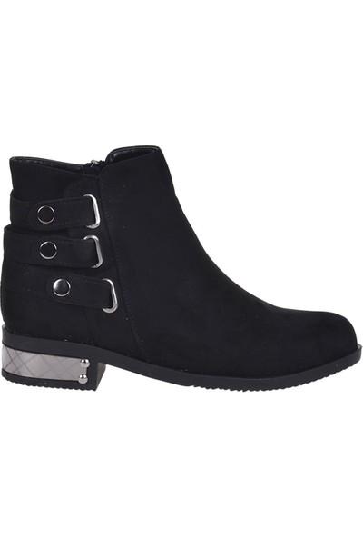 Scarletta 6090 Siyah Süet Bayan Düz Bot Ayakkabı