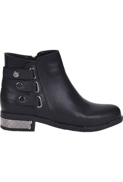 Scarletta 6090 Siyah Cilt Bayan Düz Bot Ayakkabı