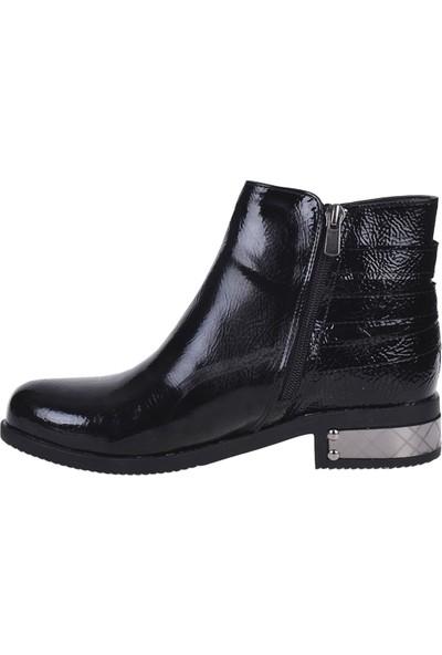 Scarletta 6090 Siyah Rugan Bayan Düz Bot Ayakkabı